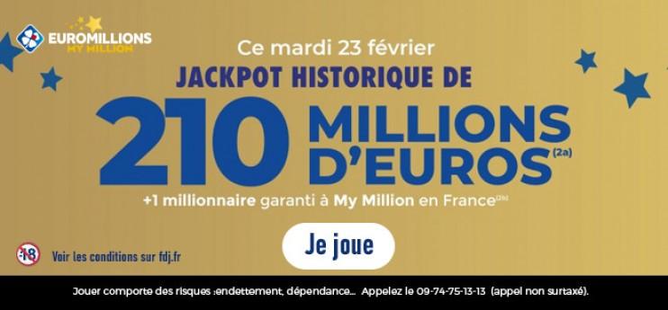 EuroMillions: 210 Millions d'€ à gagner ce mardi !