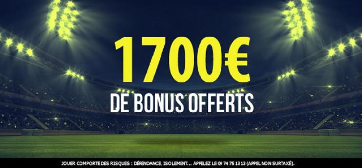 1700€ offerts pour miser sur les sites de paris sportifs !