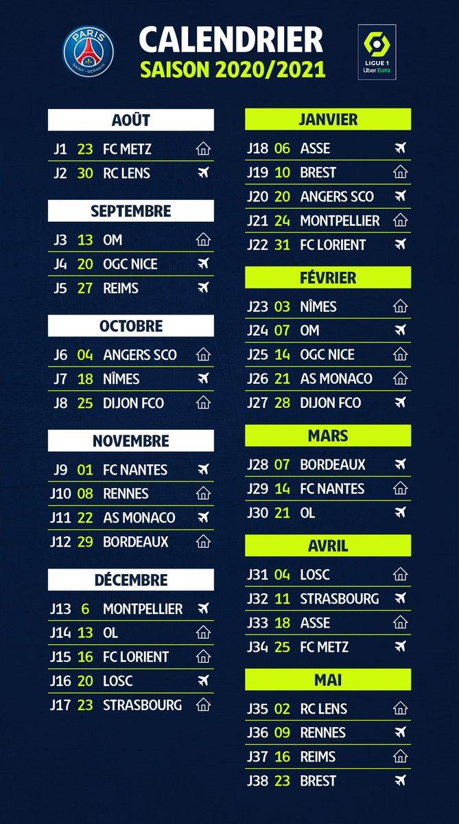 Calendrier Lfp 2021 L1 : la LFP officialise le calendrier 2020 2021 du PSG   Ligue 1